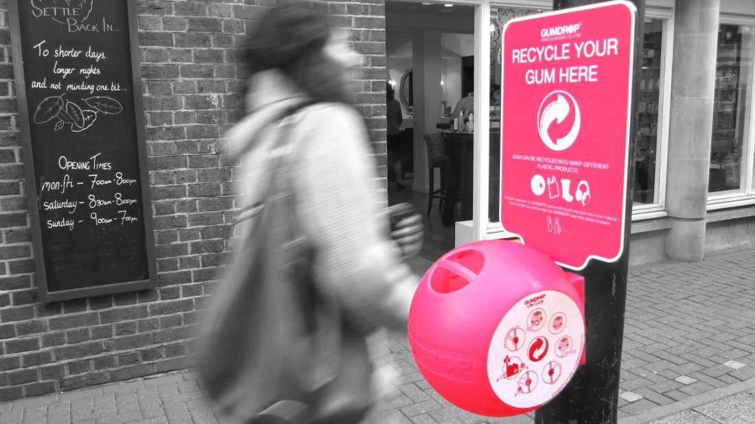 In the UK, recycled gum is the raw material for gum bins