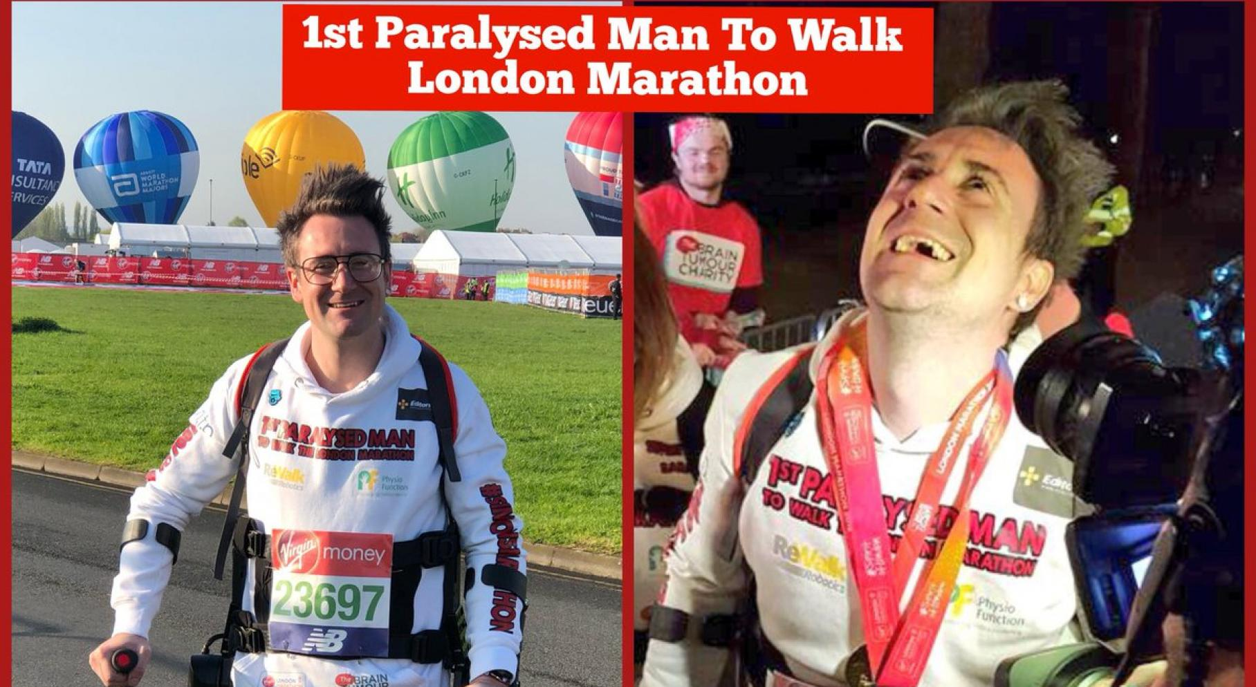 The first paralytic athlete to finish the London Marathon